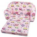 Produktové foto Bino Mini pohovka růžová, sovičky