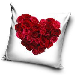 Tiptrade Polštářek Srdce z růží bílá, 40 x 40 cm