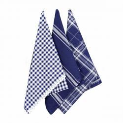 Forbyt Kuchyňská utěrka s krajkou modrá, 50 x 70 cm, sada 3 ks