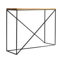Konzolový stolek s černou konstrukcí a deskou z masivního dubového dřeva Custom Form Memo, délka100cm