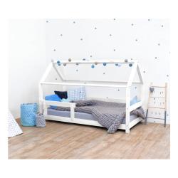 Bílá dětská postel s bočnicí ze smrkového dřeva Benlemi Tery, 90 x 160 cm