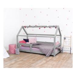 Šedá dětská postel s bočnicí ze smrkového dřeva Benlemi Tery, 120 x 200 cm