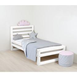 Dětská bílá dřevěná jednolůžková postel Benlemi DeLuxe, 180x80cm