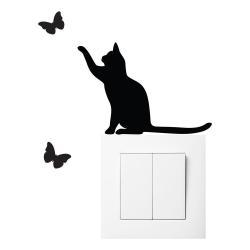 Černá samolepka na vypínač Ambiance Cat