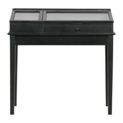 Černý dřevěný stolek s vitrínou BePureHome