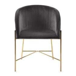 Tmavě šedá židle snohami ve zlaté barvě Interstil Nelson