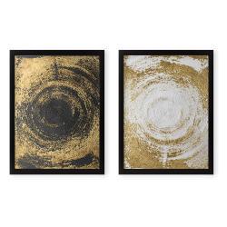 Sada 2 obrazů Tablo Center Circles Golden