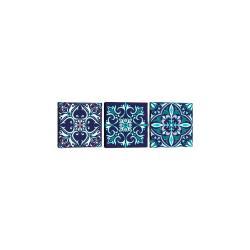 Sada 3 obrazů Tablo Center Mandala Blue
