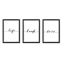 Sada 3 nástěnných obrazů Tablo Center Life Laugh Love