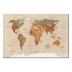 Nástěnka s mapou světa Bimago Beige Chic, 90x60cm