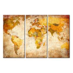 Vícedílná nástěnka s mapou světa Bimago Antique Travel, 90x60cm
