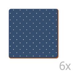 Sada 6 korkových podtácků Creative Tops Vintage Indigo, 10,5 x 10,5 cm