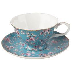 Modrý porcelánový hrnek s podšálkem Creative Tops Ditsy,200ml