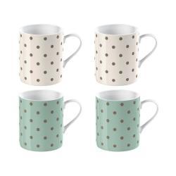 Sada 4 porcelánových hrnků na espresso Creative Tops Cottage Flowers, 60ml