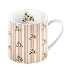 Růžový porcelánový hrnek s proužky Creative Tops Cottage Flower, 330ml