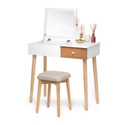 Bílý toaletní stolek se zrcadlem, šperkovnicí a stoličkou Chez Ro Beauty