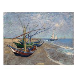 Reprodukce obrazu Vincenta van Gogha - Fishing Boats on the Beach at Les Saintes-Maries-de la Mer, 40 x 30cm