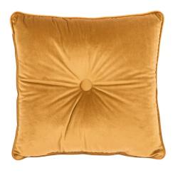 Tmavě žlutý polštář Tiseco Home Studio Velvet Button, 45x45cm