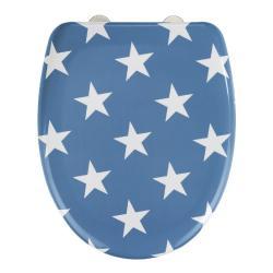 Modré WC sedátko se snadným zavíráním Wenko Stella Blue Stars, 45 x 38 cm