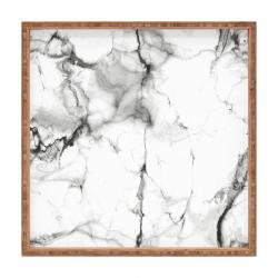 Dřevěný dekorativní servírovací tác Marble, 40x40cm
