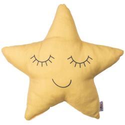 Žlutý dětský polštářek s příměsí bavlny Mike&Co.NEWYORK Pillow Toy Star, 35 x 35 cm
