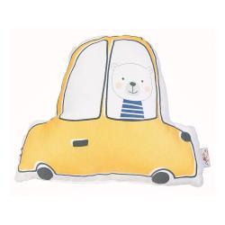 Žlutý dětský polštářek s příměsí bavlny Mike&Co.NEWYORK Pillow Toy Car, 25 x 30 cm