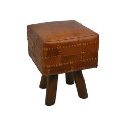 Stolička z hovězí kůže HSM collection Art of Nature Vintage Cognac, 33 x 45 cm