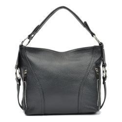 Černá kožená kabelka Carla Ferreri Eloisa