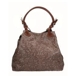 Béžová kožená kabelka Chicca Borse Origono