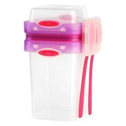 Růžová krabička na svačinu a oběd s příborem, Vialli Design, 650ml+230m