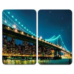 Sada 2 skleněných krytů na sporák Wenko Brooklyn Bridge, 52x30cm