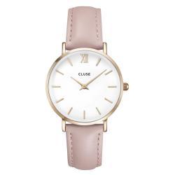 Dámské hodinky s růžovým koženým řemínkem Cluse La Minuit
