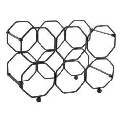 Černý kovový skládací držák na víno PT LIVING Honeycomb