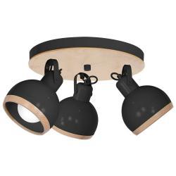 Černé stropní svítidlo s dřevěnými detaily Oval Tres Runo