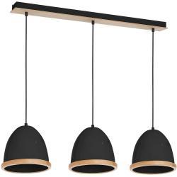 Černé závěsné svítidlo s dřevěnými detaily Studio Tres