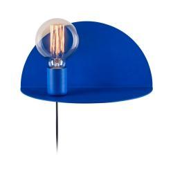 Modrá nástěnná lampa s poličkou Shelfie Anna, výška 15 cm
