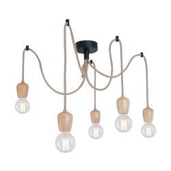 Závěsné svítidlo s 5 kabely a dřevěnou objímkou Home Shold