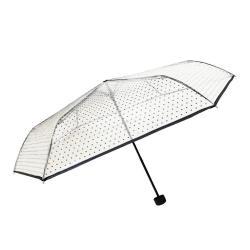 Transparentní skládací deštník Ambiance Black Polka Dots, ⌀97cm
