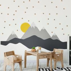 Nástěnná samolepka Ambiance Giant Kid Sticker Scandinavian Mountains Nordika