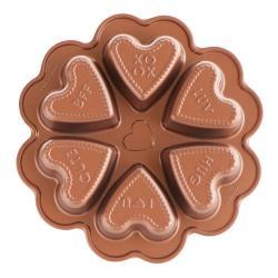 Forma na 6 mini bábovek ve tvaru srdce v měděné barvě Nordic Ware Valentine, 500 ml