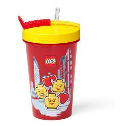 Červený kelímek se žlutým víčkem a brčkem LEGO® Iconic, 500ml