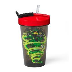 Zelený kelímek s červeným víčkem a brčkem LEGO® Ninjago, 500ml