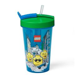 Modrý kelímek se zeleným víčkem a brčkem LEGO® Iconic, 500ml