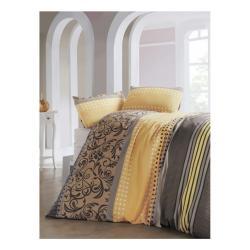 Povlečení s prostěradlem s příměsí bavlny na dvoulůžko Miranda Yellow, 200 x 220 cm