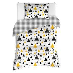 Povlečení na jednolůžko z ranforce bavlny Mijolnir Ilove Black & Yellow, 140x200cm