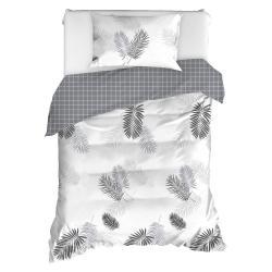 Povlečení na jednolůžko z ranforce bavlny Mijolnir Pipong White & Grey, 140 x 200 cm
