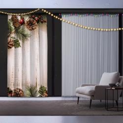 Vánoční závěs Pine Tree, 140 x 260 cm