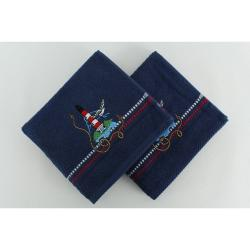 Sada 2 tmavě modrých bavlněných osušek Marina Denis, 50x90cm