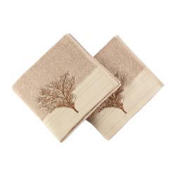 Sada 2 světle hnědých bavlněných ručníků Infinity, 50x90cm