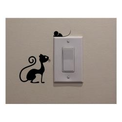 Dekorativní samolepka Cat & Mouse, výška 11 cm